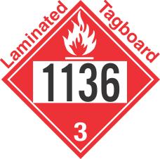 Flammable Class 3 UN1136 Tagboard DOT Placard