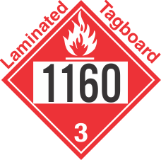 Flammable Class 3 UN1160 Tagboard DOT Placard