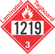 Flammable Class 3 UN1219 Tagboard DOT Placard