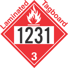 Flammable Class 3 UN1231 Tagboard DOT Placard