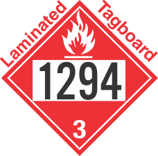 Flammable Class 3 UN1294 Tagboard DOT Placard