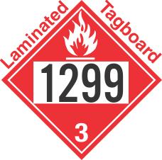 Flammable Class 3 UN1299 Tagboard DOT Placard