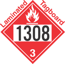 Flammable Class 3 UN1308 Tagboard DOT Placard