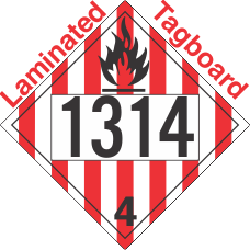 Flammable Solid Class 4.1 UN1314 Tagboard DOT Placard
