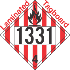 Flammable Solid Class 4.1 UN1331 Tagboard DOT Placard