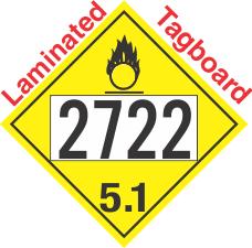 Oxidizer Class 5.1 UN2722 Tagboard DOT Placard