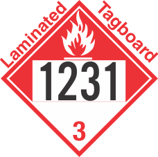 Combustible Class 3 UN1231 Tagboard DOT Placard