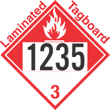 Combustible Class 3 UN1235 Tagboard DOT Placard