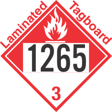 Combustible Class 3 UN1265 Tagboard DOT Placard