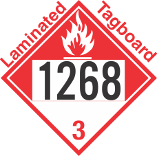 Combustible Class 3 UN1268 Tagboard DOT Placard