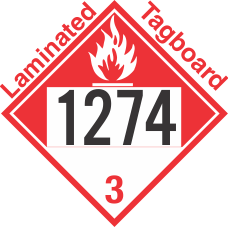 Combustible Class 3 UN1274 Tagboard DOT Placard