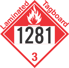 Combustible Class 3 UN1281 Tagboard DOT Placard