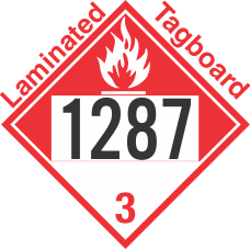 Combustible Class 3 UN1287 Tagboard DOT Placard