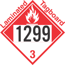 Combustible Class 3 UN1299 Tagboard DOT Placard