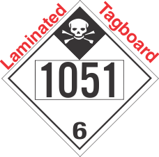 Inhalation Hazard Class 6.1 UN1051 Tagboard DOT Placard
