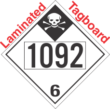 Inhalation Hazard Class 6.1 UN1092 Tagboard DOT Placard