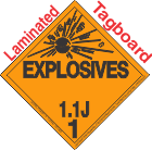 Explosive Class 1.1J Tagboard DOT Placard