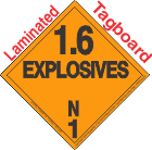 Explosive Class 1.6N Tagboard DOT Placard