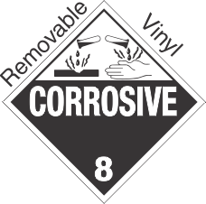 Standard Worded Corrosive Class 8 Removable Vinyl Placard