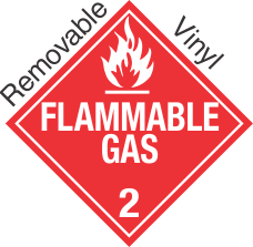 Standard Worded Flammable Gas Class 2.2 Removable Vinyl Placard