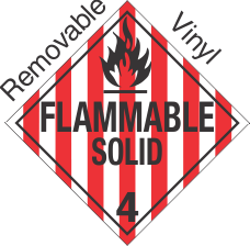 Standard Worded Flammable Solid Class 4.1 Removable Vinyl Placard
