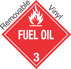 Standard Worded Fuel Oil Class 3 Removable Vinyl Placard