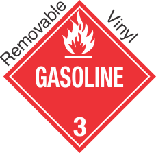 Standard Worded Gasoline Class 3 Removable Vinyl Placard