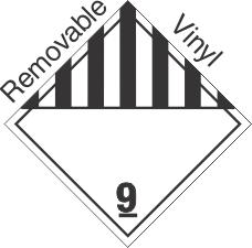 Standard Worded Miscellaneous Dangerous Goods Class 9 Removable Vinyl Placard