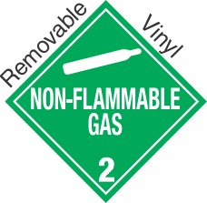 Standard Worded Non Flammable Gas Class 2.2 Removable Vinyl Placard