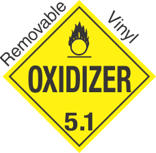 Standard Worded Oxidizer Class 5.1 Removable Vinyl Placard