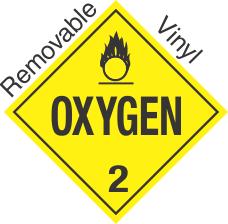 Standard Worded Oxygen Class 2 Removable Vinyl Placard