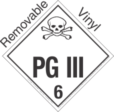 Standard Worded PG III Class 6.2 Removable Vinyl Placard