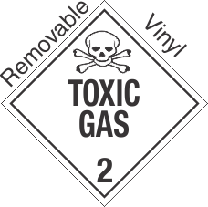 Standard Worded Toxic Gas Class 2.3 Removable Vinyl Placard