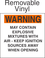 Warning Explosive Mixtures Marking Removable Vinyl Placard