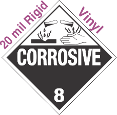 Standard Worded Corrosive Class 8 20mil Rigid Vinyl Placard