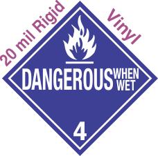 Standard Worded Dangerous When Wet Class 4.3 20mil Rigid Vinyl Placard