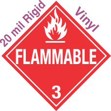 Standard Worded Flammable Class 3 20mil Rigid Vinyl Placard