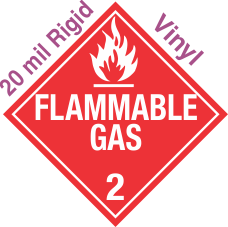 Standard Worded Flammable Gas Class 2.2 20mil Rigid Vinyl Placard