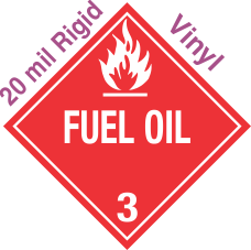 Standard Worded Fuel Oil Class 3 20mil Rigid Vinyl Placard