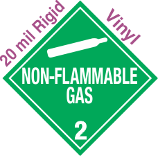 Standard Worded Non Flammable Gas Class 2.2 20mil Rigid Vinyl Placard