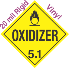 Standard Worded Oxidizer Class 5.1 20mil Rigid Vinyl Placard