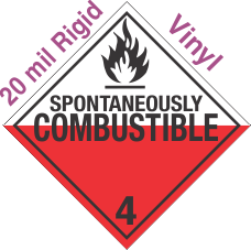 Standard Worded Spontaneously Combustible Class 4.2 20mil Rigid Vinyl Placard