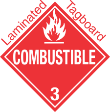 Standard Worded Combustible Class 3 Laminated Tagboard Placard