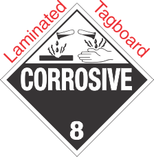 Standard Worded Corrosive Class 8 Laminated Tagboard Placard