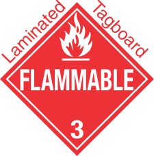 Standard Worded Flammable Class 3 Laminated Tagboard Placard