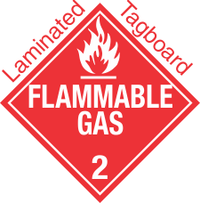 Standard Worded Flammable Gas Class 2.2 Laminated Tagboard Placard