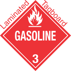 Standard Worded Gasoline Class 3 Laminated Tagboard Placard