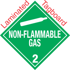 Standard Worded Non Flammable Gas Class 2.2 Laminated Tagboard Placard