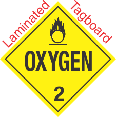 Standard Worded Oxygen Class 2 Laminated Tagboard Placard