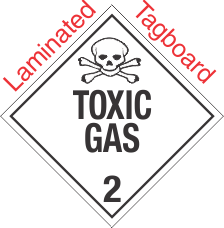 Standard Worded Toxic Gas Class 2.3 Laminated Tagboard Placard